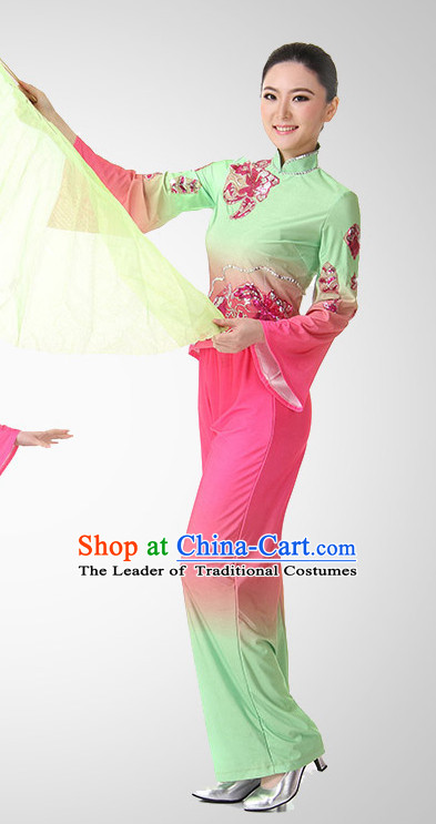 Chinese Folk Fan Dance Costume Wholesale Clothing Discount Dance Costumes Dancewear Supply and Hat for Girls