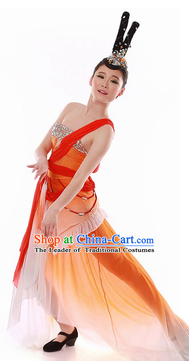 Chinese Folk Classical Dance Costume Wholesale Clothing Discount Dance Costumes Dancewear Supply and Headwear for Girls