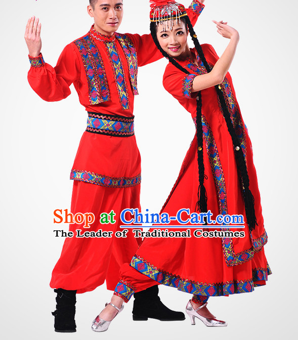Chinese Xinjiang Folk Dance Costume Wholesale Clothing Discount Dance Costumes Dancewear Supply and Headpieces for Men and Women