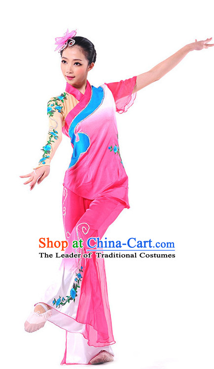 Chinese Fan Dance Outfit Costume Wholesale Clothing Group Dance Costumes Dancewear Supply for Girls