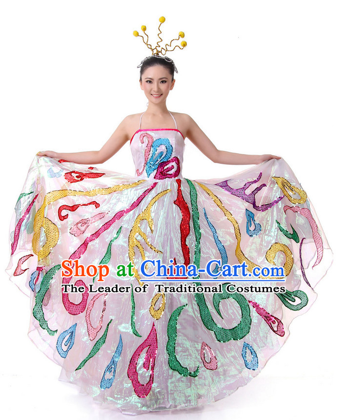 Chinese Classical Festival Celebration Dance Outfit Costume Wholesale Clothing Group Dance Costumes Dancewear Supply for Girls