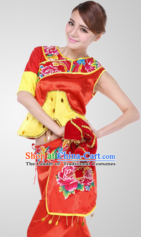 Chinese Classical Handkerchief Dance Outfit Costume Wholesale Clothing Group Dance Costumes Dancewear Supply for Girls