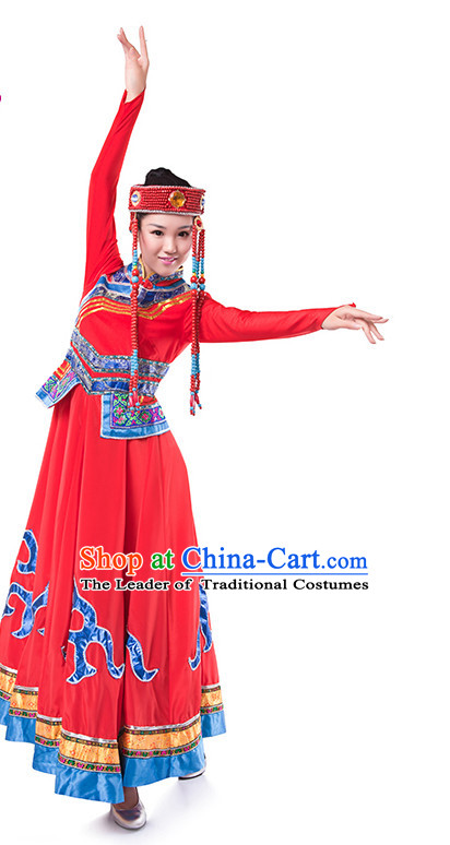 Chinese Folk Mongolia Dance Costume Wholesale Clothing Group Dance Costumes Dancewear Supply for Girls