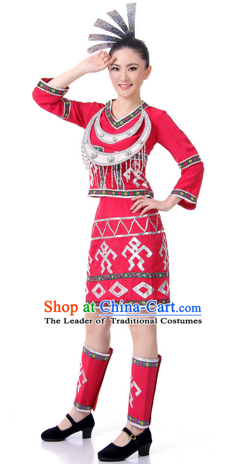 Chinese Folk Ethnic Dance Costume Wholesale Clothing Group Dance Costumes Dancewear Supply for Woman
