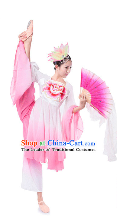 Chinese Folk Ribbon Fan Dancing Clothes Costume Wholesale Clothing Group Dance Costumes Dancewear Supply for Girls