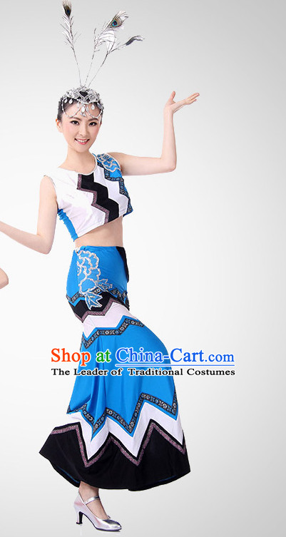Chinese Peacock Dancing Clothes Costume Wholesale Clothing Group Dance Costumes Dancewear Supply for Girls