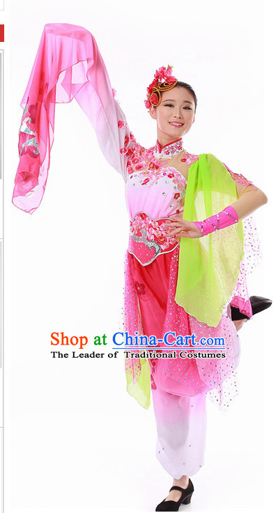 Chinese Peach Dance Outfit Costume Wholesale Clothing Group Dance Costumes Dancewear Supply for Girls