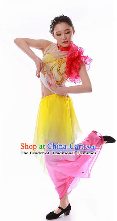 Chinese Fan Dance Outfits Costume Wholesale Clothing Group Dance Costumes Dancewear Supply for Girls