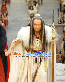 New Stone Age Chinese Tribal Leader Yellow Emperor Xia Dynasty Costumes and Headwear