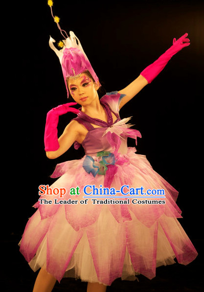 Stage Flower Dance Costume and Headwear Complete Set for Women.