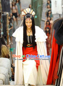 Xia Dynasty Princess Queen Tribal Leader's Daughter Clothing and Headwear Complete Set