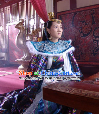 Ancient Chinese Princess Clothing and Head Accessories for Women.