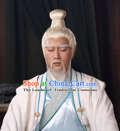 Ancient Chinese Jiang Ziya Old Men Long White Wigs