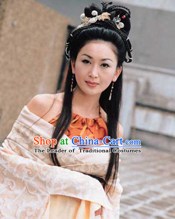 Ancient Chinese Shang Dynasty Beauty Long Black Wigs and Hair Accessories