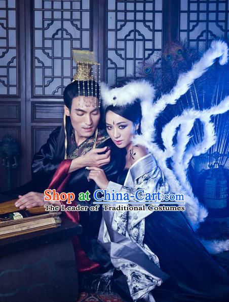 Shang Dynasty Emperor and Empress Couple Costumes 2 Sets