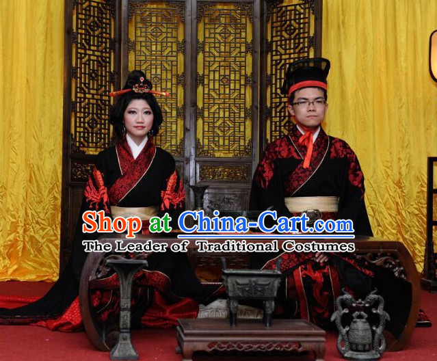 Western Zhou Dynasty Ceremonial Clothing Clothes Garment 2 Complete Sets for Men and Women