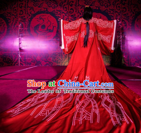 Western Zhou Dynasty Wedding Dress Clothing Clothes Garment and Hair Accessories for Women