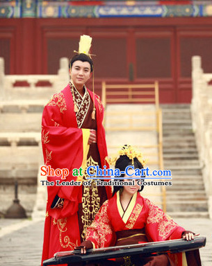Western Zhou Dynasty Wedding Dress Clothing Clothes Garment and Hair Accessories for Men and Women