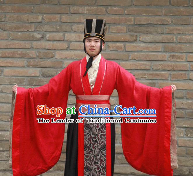 Western Zhou Dynasty Official Clothing Costume and Hat for Men