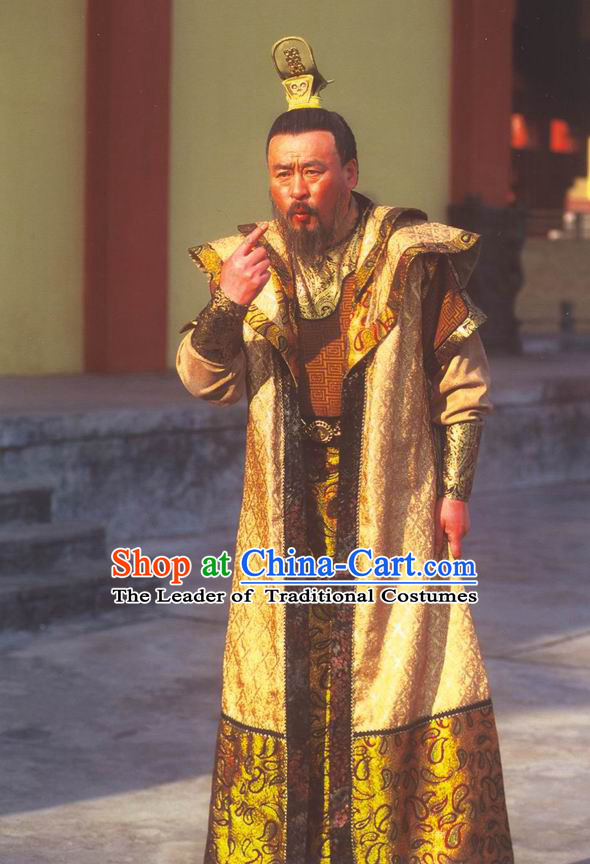 Chinese Eastern Zhou Dynasty Ancient Emperor Costume and Crown Complete Set for Men