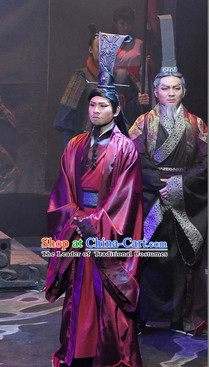 China Eastern Zhou Dynasty Spring Autumn Official Costume Complete Set for Men