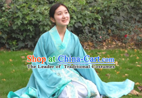 Chinese Costume Chinese Costumes National Garment Outfit Clothing Clothes Ancient Jin Dynasty Teenagers Garment Outfits Dresses for Girls