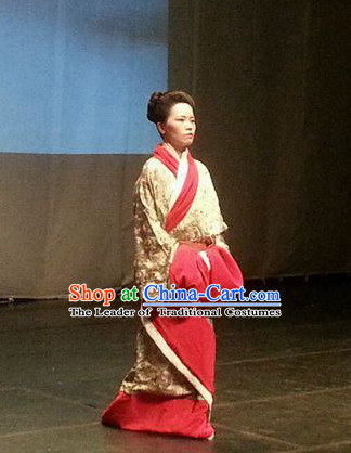 Chinese Costume Qin Dynasty Period China Clothing Complete Set for Women