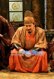 Ancient Chinese Tang Dynasty Costume Emperor Taizong of Tang Li Shimin Costumes and Hat Complete Set for Men