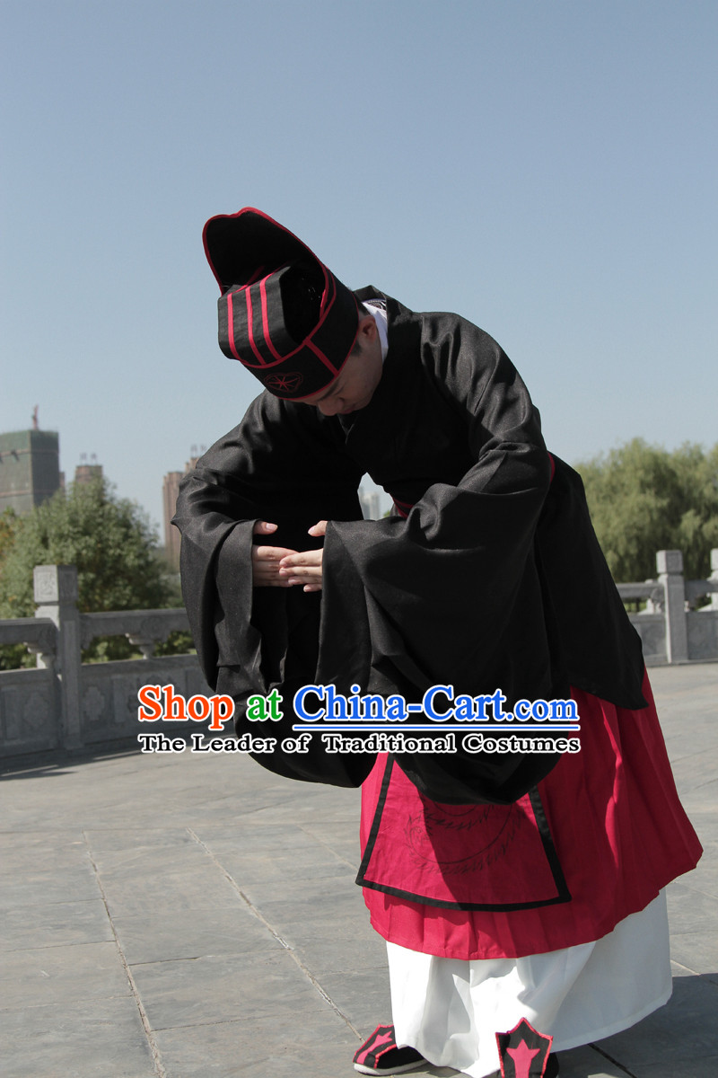 Chinese Tang Dynasty Costumes Confucian Scholar and Calligrapher Ouyang Xun Costume Complete Set for Men
