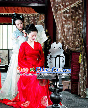 Tang Dynasty Chinese Wedding Dress Complete Set for Women with Long Trail