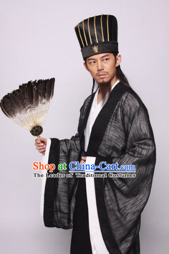 Three Kingdoms San Guo Chinese Costume Chinese Costumes Zhuge Liang Clothing Clothes Garment Outfits Suits for Men