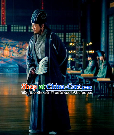 Three Kingdoms Chines Statesman Chancellor Wise Man Zhu Geliang Costume Costumes Clothing Clothes Garment Outfits Suits for Men