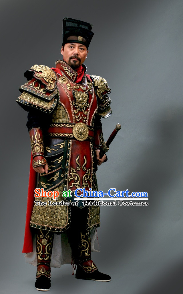 Song Dynasty Generals of the Yang Family Superhero General Armor Costume Costumes Dresses Clothing Clothes Garment Outfits Suits Complete Set for Men