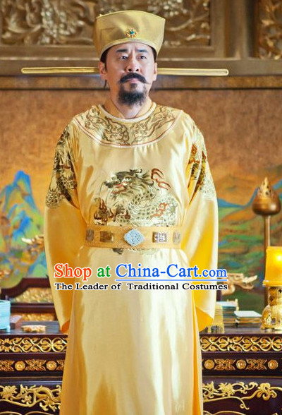 Song Dynasty Emperor Taizu of Song Costume Costumes Dresses Clothing Clothes Garment Outfits Suits Complete Set for Men