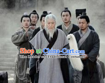 Song Dynasty Qiu Chuji Daoist Disciple of Wang Chongyang Costume Costumes Dresses Clothing Clothes Garment Outfits Suits Complete Set for Men