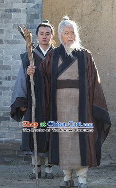 Song Dynasty Wang Chongyang Taoist Founder of Quanzhen School Costume Costumes Dresses Clothing Clothes Garment Outfits Suits Complete Set for Men