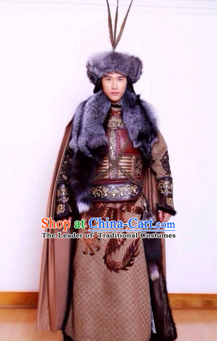 Abaoji Liao Dynasty Khitan Emperor The Emperor Taizong of Liao Costume Costumes Dresses Clothing Clothes Garment Outfits Suits Complete Set for Men