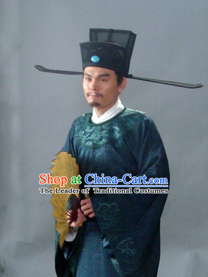 Song Dynasty Chinese Economist Statesman Chancellor and Poet Ouyang Xiu Costume Costumes Dresses Clothing Clothes Garment Outfits Suits Complete Set for Men