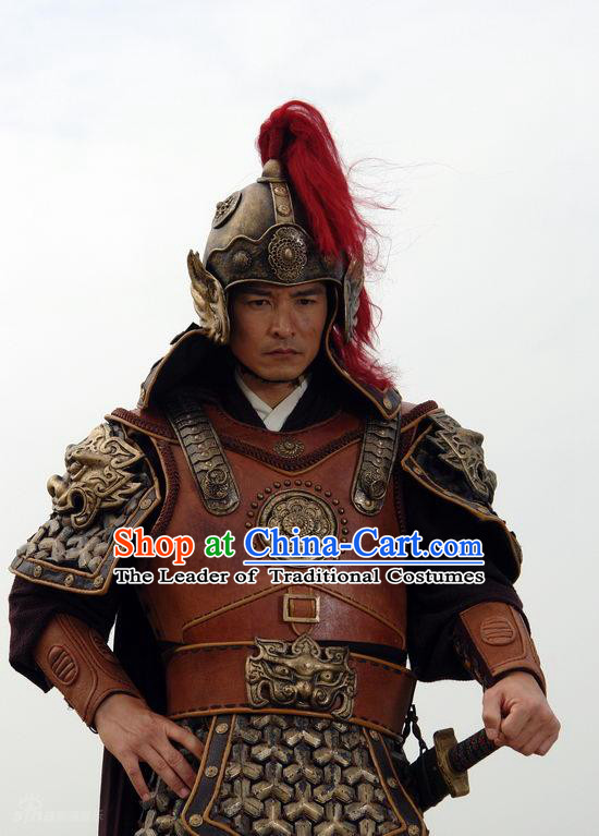 Ming Dynasty Military General Qi Jiguang Armor Costumes Dresses Clothing Clothes Garment Outfits Suits Complete Set for Men