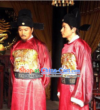 Ming Dynasty Official Military Strategist Statesman Poet Liu Bowen Costumes Dresses Clothing Clothes Garment Outfits Suits Complete Set for Men