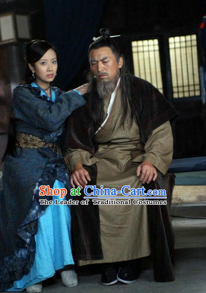 Ming Dynasty Writer Luo Guanzhong Costumes Dresses Clothing Clothes Garment Outfits Suits Complete Set for Men