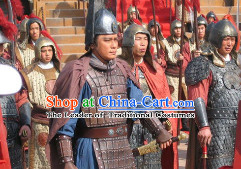 Ming Dynasty Mariner Explorer Diplomat Fleet Admiral Zheng He Body Armor Costumes Dresses Clothing Clothes Garment Outfits Suits Complete Set for Men