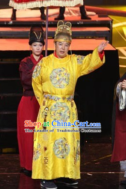 Ming Dynasty Grand Ancestor of Ming Zhu Yuanzhang Hongwu Emperor Costumes Dresses Clothing Clothes Garment Outfits Suits Complete Set for Men