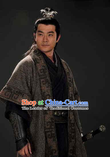 Chinese Han Dynasty Political Advisor and Official Chao Cuo Costumes Dresses Clothing Clothes Garment Outfits Suits Complete Set for Men