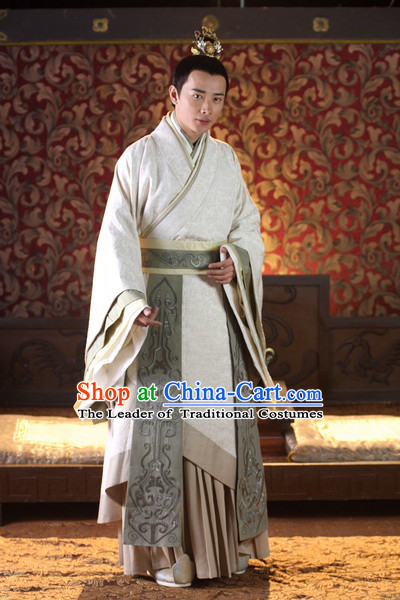 Chinese Han Dynasty Official Prime Minster Li Si Costumes Dresses Clothing Clothes Garment Outfits Suits Complete Set for Men