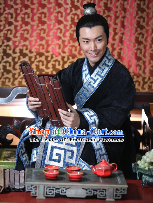 Chinese Han Chancellor Shang Yang Costumes Dresses Clothing Clothes Garment Outfits Suits Complete Set for Men