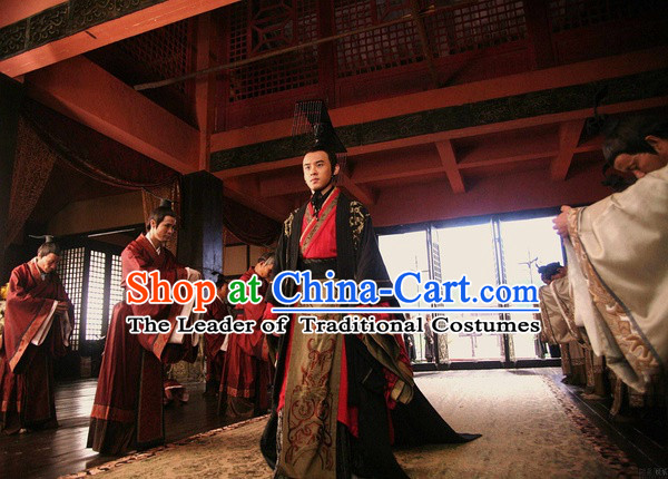 Chinese Han Dynasty Emperor Wu of Han Costumes Dresses Clothing Clothes Garment Outfits Suits Complete Set for Men