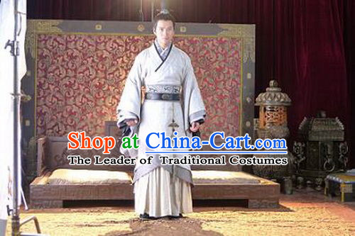 Chinese Han Dynasty Nobleman Costumes Dresses Clothing Clothes Garment Outfits Suits Complete Set for Men