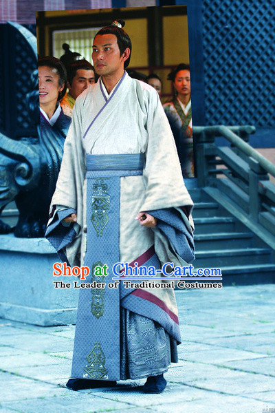 Chinese Han Dynasty Chancellor Costumes Dresses Clothing Clothes Garment Outfits Suits Complete Set for Men