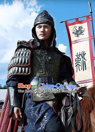 Chinese Qin Dynasty General Duke Li Xin Armor Costumes Dresses Clothing Clothes Garment Outfits Suits Complete Set for Men